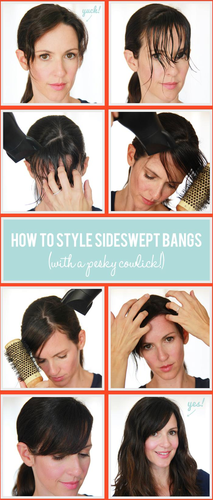 Side Swept Bangs With Cowlick Hairstyles How To
